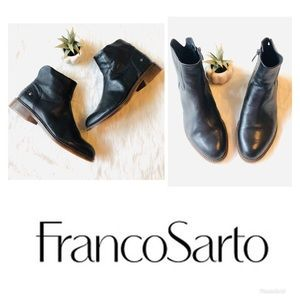 Franco Sarto | Black Leather Ankle Boots Hero